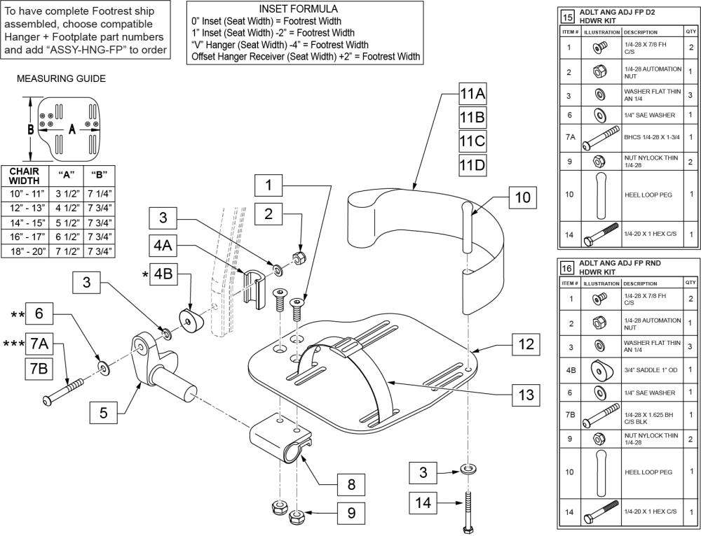Adult Angle-adjustable Footplate Ext Mount parts diagram