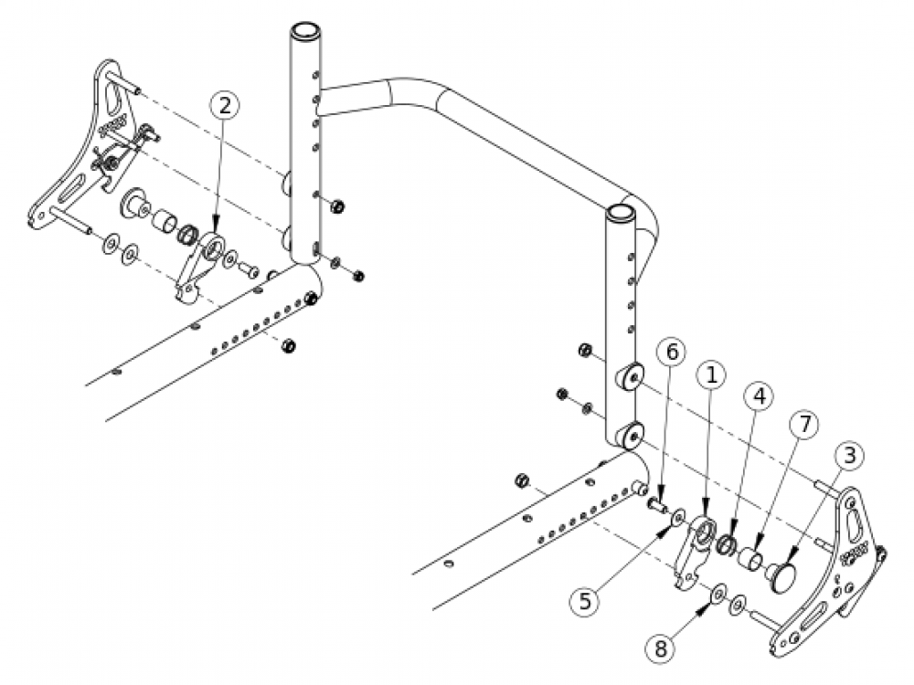 (discontinued) Aluminum Tsunami Backrest Lockout parts diagram