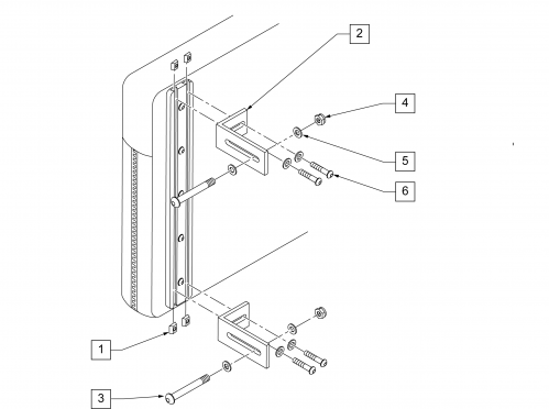 Tri-cell Back Hardware parts diagram