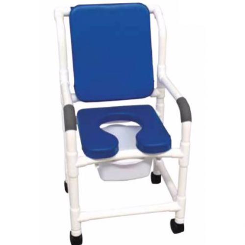 MJM 118-3 PVP Shower Chair Commode w/ Soft Seat Deluxe and Padded Back