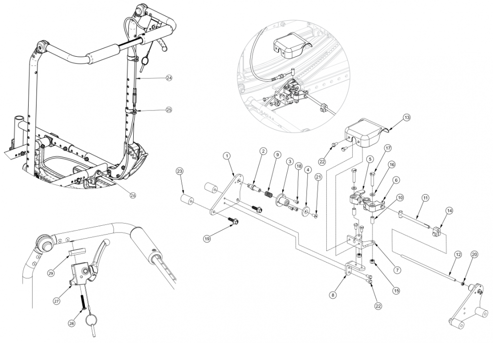 (discontinued 4) Focus Cr Hand Tilt Mechanism Fixed Height With Adjustable Handle Back parts diagram