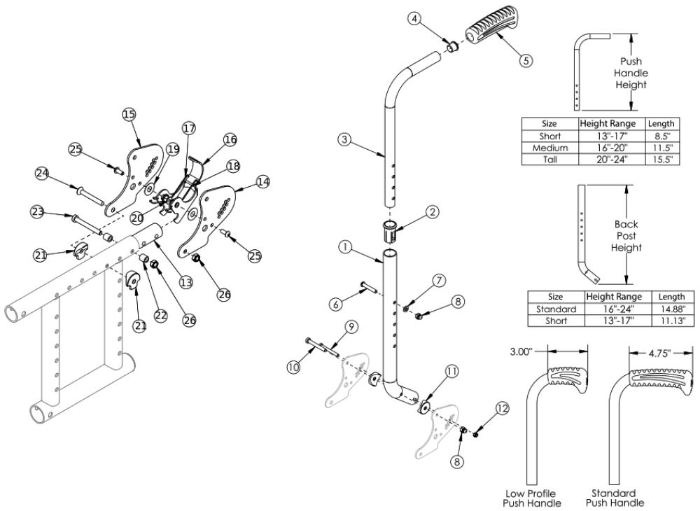 (discontinued) Catalyst Height Adjustable Depth Adjustable Backrest With Hardware parts diagram