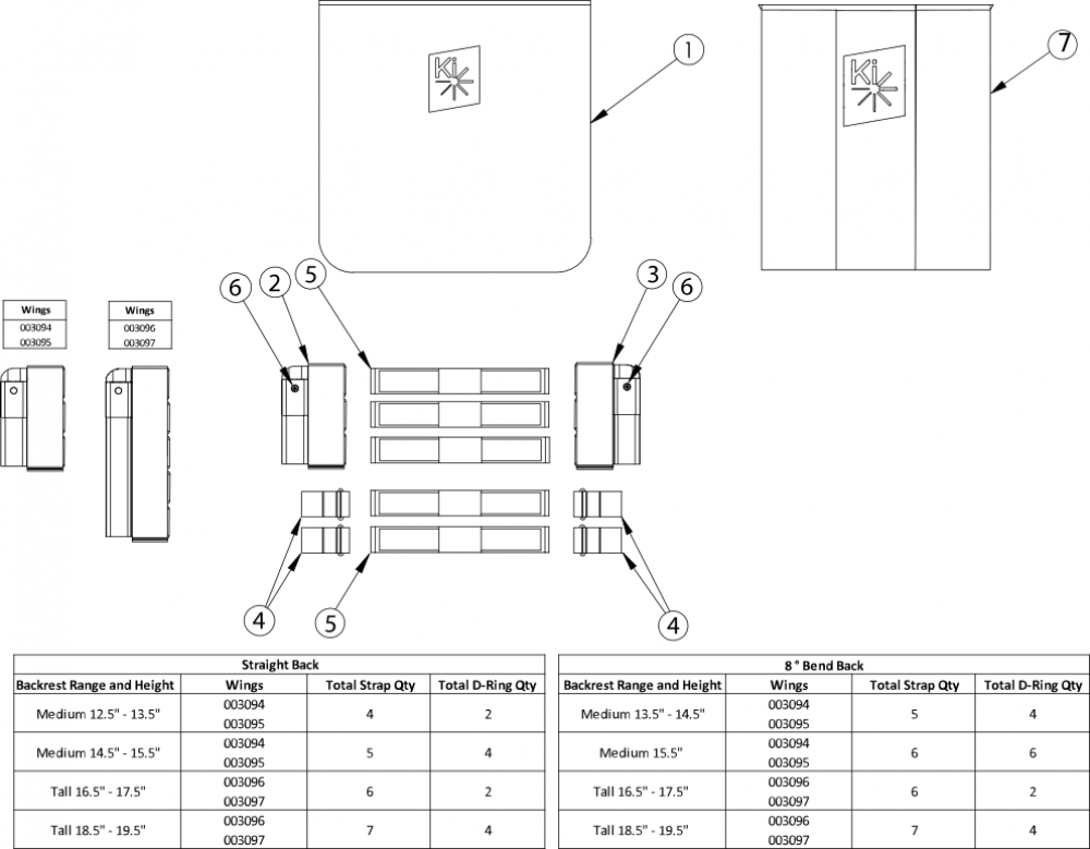 Catalyst Half Folding Tension Back Upholstery parts diagram