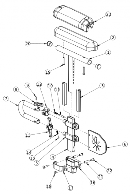 Catalyst Height Adjustable Low T-arm parts diagram