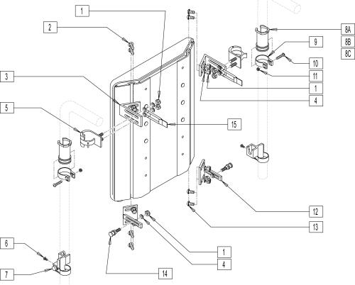 Adjustable Quick-mount Back Hardware parts diagram
