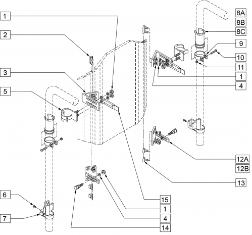 Adjustable Quick-mount Back Hardware (transit Approved) parts diagram