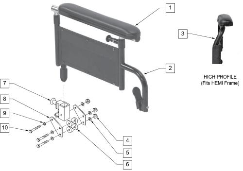Flip-back Armrest Height Adjustable Full parts diagram