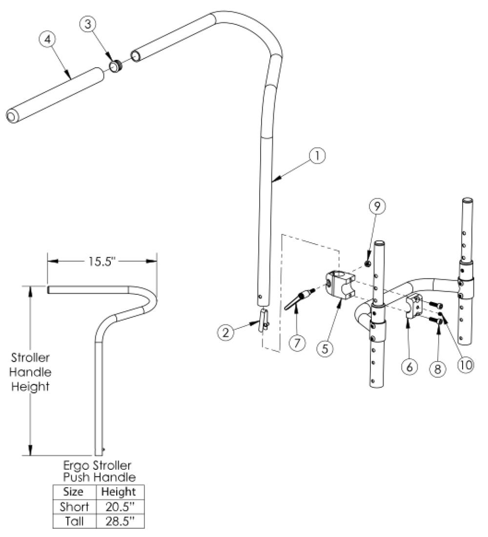 Ergo Stroller Handle parts diagram