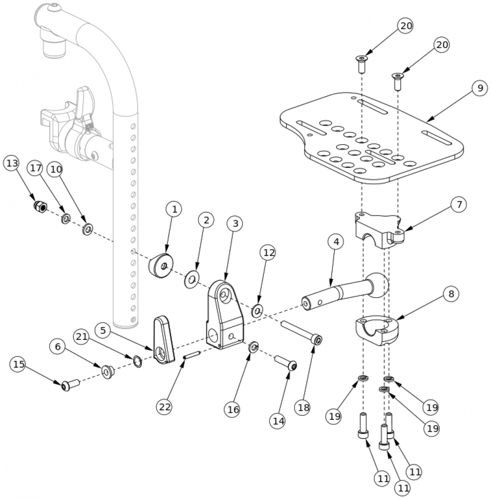Aluminum Locking Multi-angle Adjustable Footplate - Front Mount parts diagram