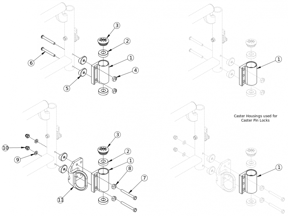 Catalyst 5 / Spark Standard Caster Housing For Swing Away Frame parts diagram
