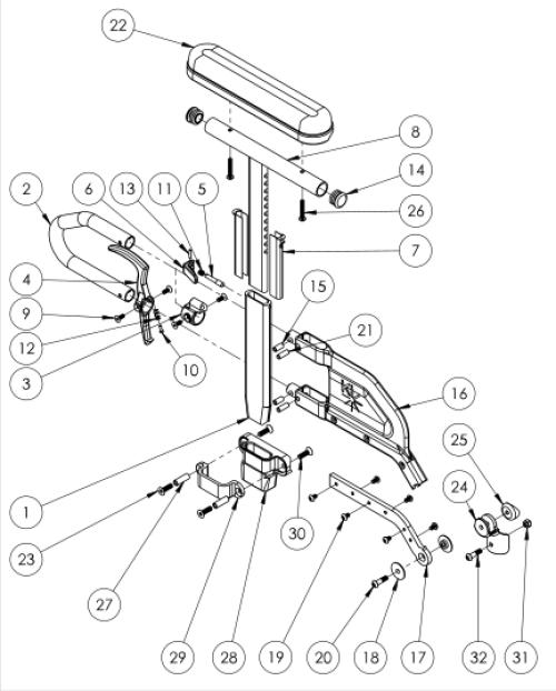 Catalyst 5 Height Adjustable Flip Back T-arm parts diagram