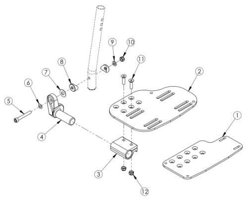 Angle Adjustable Footplate - Extension Mount parts diagram