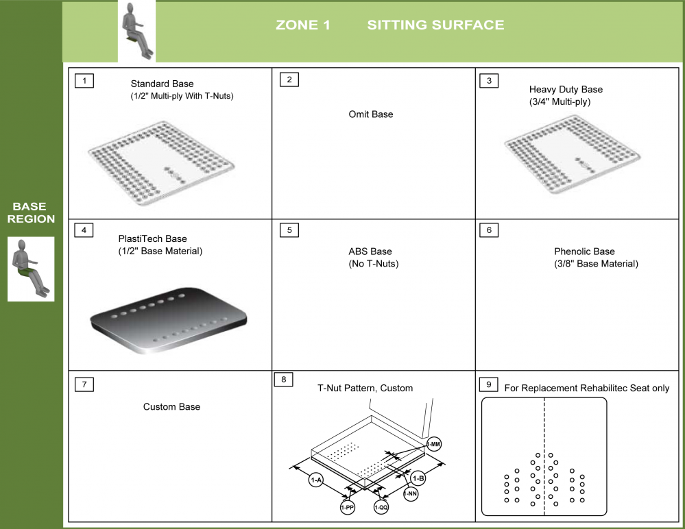 Cs-01-seat Step 2 - Select Base parts diagram