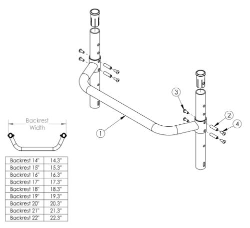 Tsunami Al Adjustable Height Backrest With Adjustable Height Rigidzer Bar - Growth parts diagram