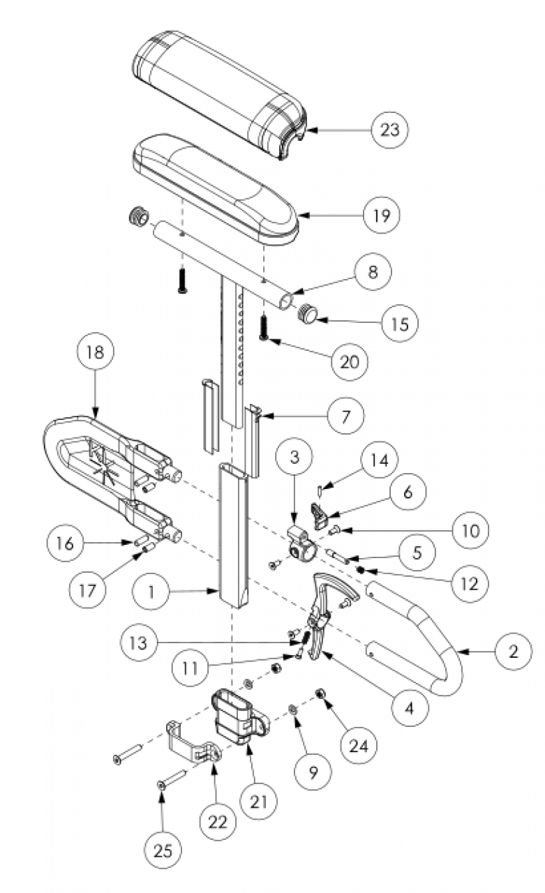 Liberty Ft Height Adjustable T-arm parts diagram
