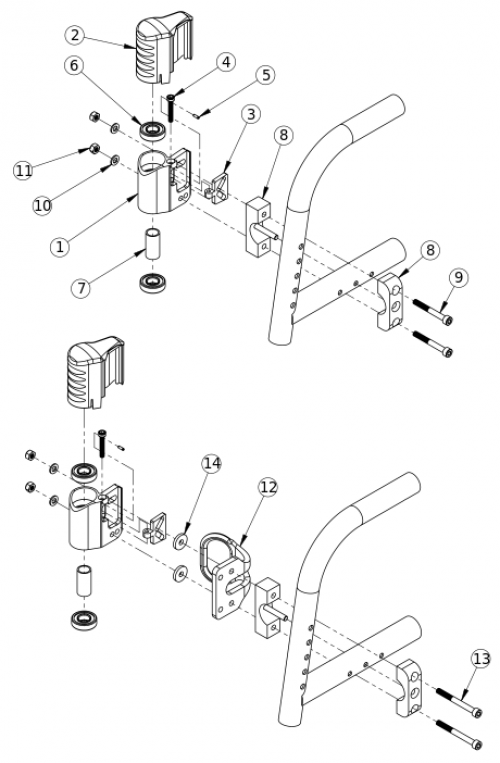 Catalyst 5 Performance Caster Housing For Fixed Front parts diagram