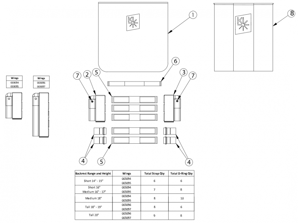Catalyst Tension Adjustable Back Upholstery - Angle Adjustable Backposts parts diagram