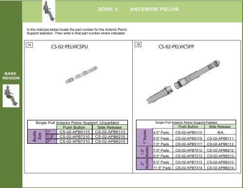 Single Pull Anterior Pelvic Supports parts diagram