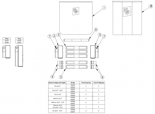 Catalyst Tension Adjustable Back Upholstery - Standard Backposts parts diagram