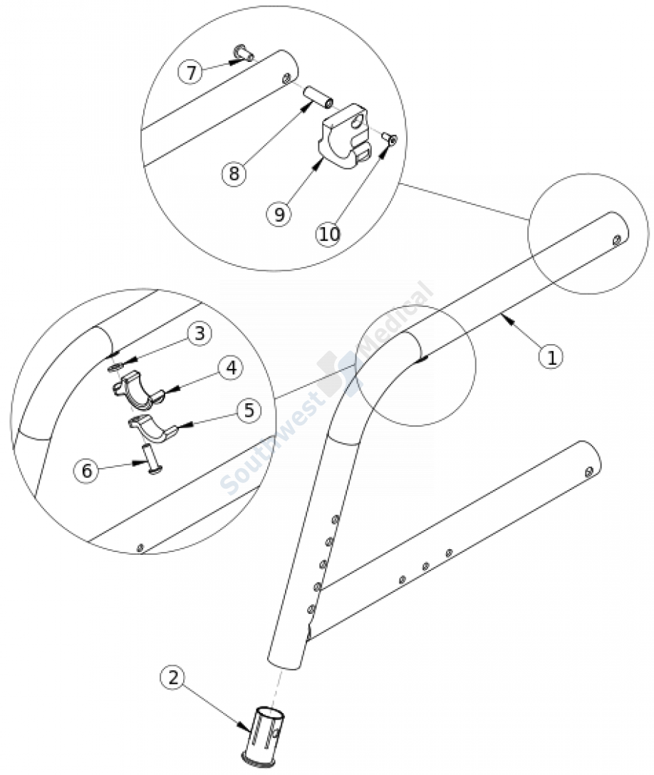 Catalyst 70 Degree Fixed Front Frame parts diagram