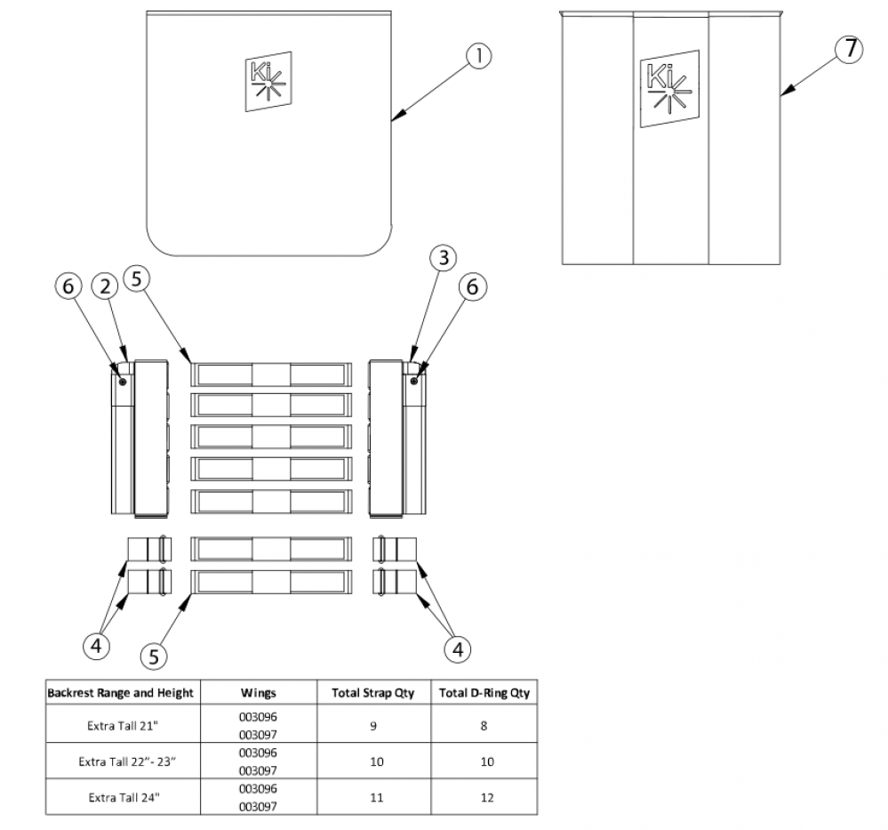 Catalyst Tension Adjustable Back Upholstery - Extra Tall Backposts parts diagram